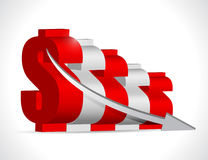 falling dollar business graph concept Stock Photo