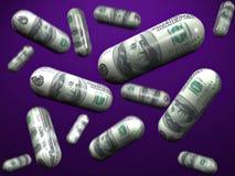 Falling dollar capsules Stock Image