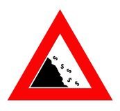 Falling Dollar currency. Dollar currency symbols falling off cliff in warning roadsign triangle, isolated on white background Royalty Free Stock Photography