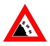 Falling Dollar currency. Dollar currency symbols falling off cliff in warning roadsign triangle, isolated on white background Stock Photo