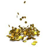 Falling dollar gold coins Royalty Free Stock Image