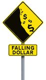 Falling Dollar. A modified road sign on the weakening of the dollar Royalty Free Stock Images