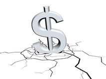 Falling dollar sign. 3d sign of dollar symbol fall down Stock Photos