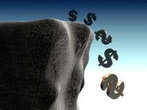 Falling dollar sign Stock Image