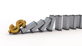 Falling dollar to destroy real estate market. 3d royalty free illustration