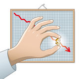 Falling Dollar. US Dollar on the chart stock illustration