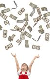 Falling dollars Stock Images