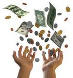 Falling dollars. 3D american cash finance Stock Image