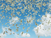 Falling dollars Royalty Free Stock Photo
