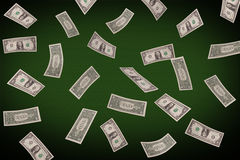 Falling dollars on the poker table Royalty Free Stock Image
