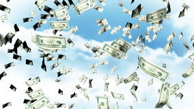 Falling Dollars from the sky stock footage
