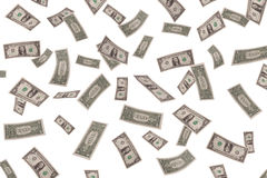 Falling dollars on white background Royalty Free Stock Photography