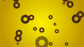 Falling Junk food donuts on yellow background for motion graphics, birthday, advertise etc, royalty free illustration