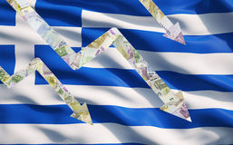 Falling down arrows made of Euro notes over Greek flag. Royalty Free Stock Photography