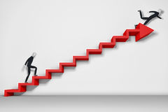 Falling down. Businessman climbing ladder and falling down Stock Images