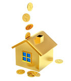 Falling down dollar coins to the money box Royalty Free Stock Photo