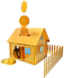 Falling down euro coins to the money box Royalty Free Stock Photo