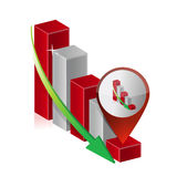Falling down graph chart location pointer Stock Photos