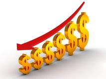 Falling down graph of the Dollar. 3d royalty free illustration