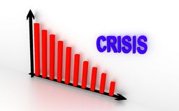 Falling down graph. In the illustration showing falling down graph and write crisis. 3D rendering Stock Photography