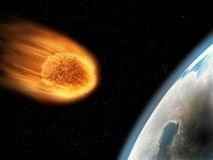 Falling down, pulled by gravity, its surface start getting burned. Armageddon conce stock image