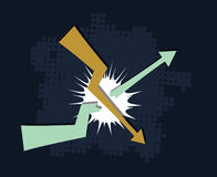 Falling down trend breaks upcoming. Trend financial crisis concept abstract vector illustration Stock Photo