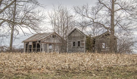 Falling down. Two falling down buildings in a corn field Stock Images
