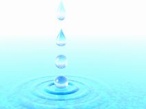Falling drops of water. 3D rendering Stock Image