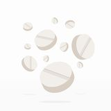 Falling Drugs or Pills Medicine on white. Falling Drugs or Pills, Medicine on white background. Vector Illustration Stock Photos