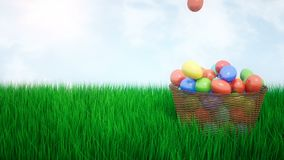 Falling Easter eggs in a wicker basket stock video