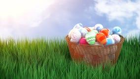 Falling Easter eggs in a wicker basket stock footage
