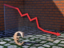 Falling Economy. An 3D illustration of a Euro sign in front of a graph showing falling economy Royalty Free Stock Photo