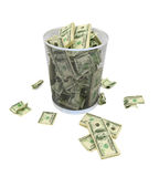 Falling of economy. Garbage basket of complete money on a white background Royalty Free Stock Photography