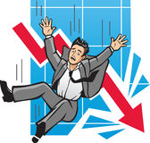 Falling Economy. Vector Illustration of a man falling as a diagram of profits go crashing downwards Stock Images