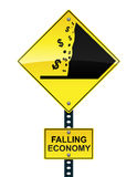 Falling economy road sign. Road sign warning of the impending fiscal cliff Stock Photos