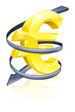 Falling Euro. Conceptual finance or economy concept of falling price of the Euro exchange rate or just falling profits Royalty Free Stock Photography