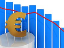 Falling euro. 3d illustration of down euro diagram with blue bars Royalty Free Stock Photos
