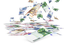 Falling Euro Banknotes. Money concept with a rain of falling euro bank notes on white background Stock Images