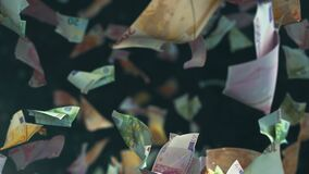 Falling Euro banknotes in 4K Loopable