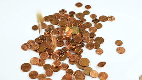 Falling Euro cent coins stock footage