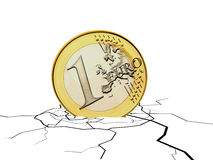 Falling euro coin Royalty Free Stock Image