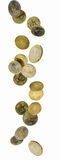 Falling euro coins. Euro coins shot as if falling from above Royalty Free Stock Image