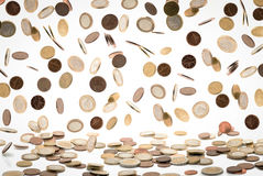 Falling euro coins Royalty Free Stock Photos