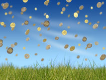 Falling euro coins. Fulling euro coins on blue sky background Stock Photos