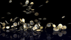 Falling Euro coins on black. Large number of Euro coins falling on black reflective floor. Coins are from various Euro countries like Germany, Greece, Belgium Stock Images