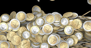 Falling euro coins. 3D animation of falling one euro, two euro and fifty cent coins filling screen stock video