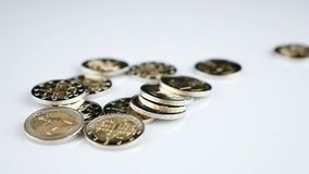 Falling Euro coins. Falling Two Euro coins - slow motion stock footage