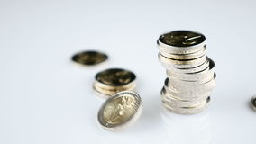 Falling Euro coins. Falling Two Euro coins - slow motion stock video
