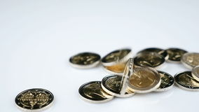 Falling Euro coins. Falling Two Euro coins - slow motion stock video footage