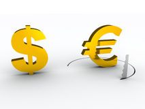 Falling euro financial risk concept Stock Photo